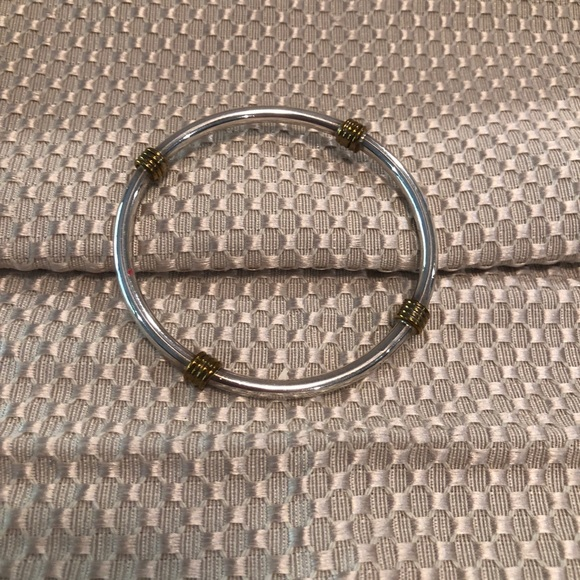 Jewelry - sterling silver bangle bracelet with gold accents